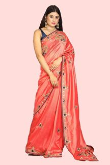 Picture of Adorable Peach Colored Party Wear Dola Silk Saree