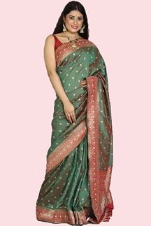 Picture of Energetic Two Tone Maroon & Green Colored Festive Wear Woven Banarasi Silk Saree