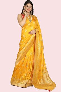 Picture of Beautiful Mustrad Yellow Colored Festive Wear Woven Saree