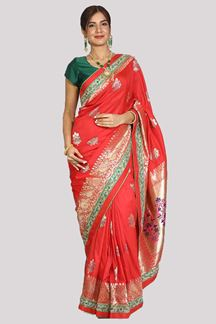 Picture of Pleasant Red Colored Festive Wear Woven Banarasi Silk Saree