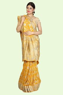 Picture of Captivating Mustard Yellow Colored Festive Wear Woven Banarasi Georgette Saree