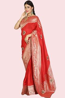 Picture of Gorgeous Red Colored Festive Wear Woven Dola Silk Saree