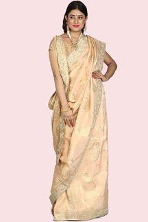 Picture of Flirty Golden Peach Colored Festive Wear Woven Banarasi Silk Saree