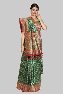 Picture of Energetic Green Colored Festive Wear Printed Banarasi Silk Saree