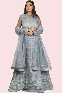 Picture of Captivating Grey Colored Partywear Embroidered Netted Anarkali Suit