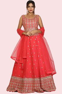 Picture of Awesome Red Colored Designer Embroidered Georgette Anarkali Suit