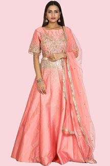 Picture of Impressive Pink Colored Party Wear Raw Silk Gown
