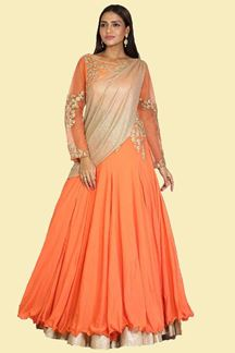 Picture of Glowing Orange Colored Party Wear Crepe Gown