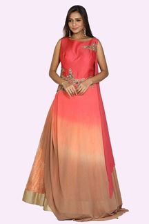 Picture of Hypnotic Orange Shaded Colored Party Wear Embroidered Gown