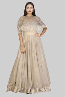Picture of Opulent Champagne Colored Partywear Chiffon Gown