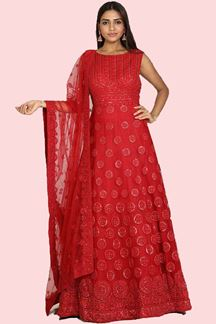 Picture of Capricious Red Colored Partywear Embroidered Gown