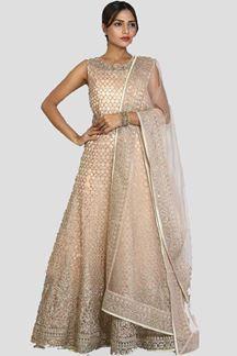 Picture of Gorgeous light Peach Color Net Anarkali Suit