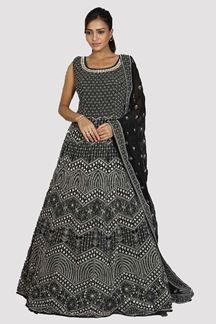 Picture of Capricious Black Colored Partywear Embroidered Anarkali Suit