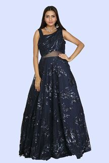 Picture of Navy Blue Gown In Embellished Net With Sequins