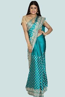 Picture of Majesty Rama Green Colored Festive Wear Satin Silk Saree