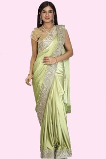 Picture of Jazzy Parrot Green Colored Festive Wear Satin Silk Saree