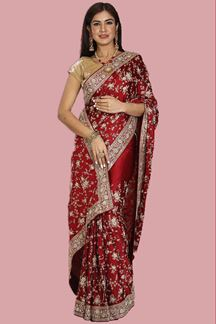Picture of Glowing Maroon Colored Satin Silk Saree