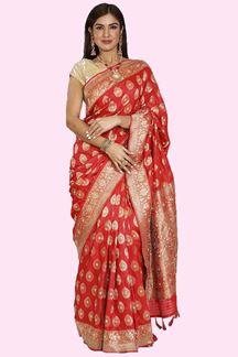 Picture of Elegant Red Colored Festive Wear Banarasi Silk Saree