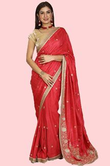 Picture of Opulent Red Colored Partywear Raw Silk Saree