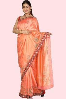 Picture of Attractive Peach Colored Festive Wear Silk Saree