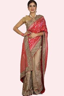 Picture of Flirty Pink & Golden Colored Embroidered Party Silk Saree
