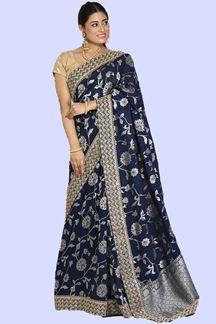 Picture of Opulent navy Blue Colored Festive Wear Woven Banarasi Silk Saree