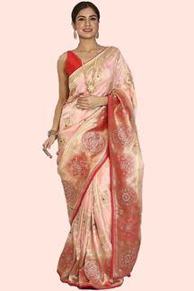 Picture of Engrossing Peach Colored Festive Wear Woven Banarasi Silk Saree