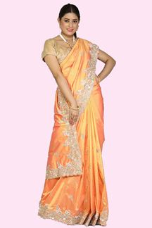 Picture of Eye-catching Flame Orange Colored Festive Wear  Silk Saree
