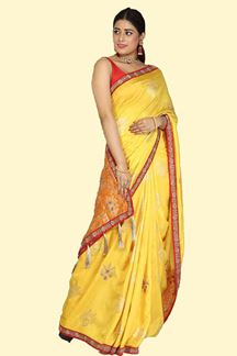 Picture of Glowing Yellow Colored  Banarasi Silk Saree