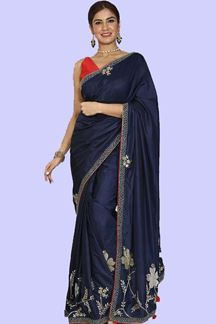 Picture of Glowing Navy Blue Colored Partywear Dola Silk Saree