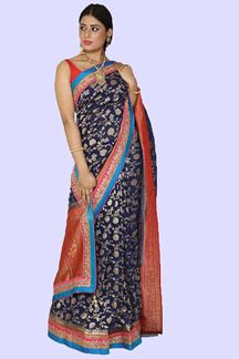 Picture of Fantastic Navy Blue Colored Banarasi Georgette  Saree