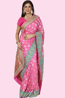 Picture of Delightful Hot Pink Colored Festive Wear Woven Banarasi Silk Saree