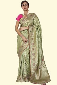 Picture of Dazzling Green Colored Festive Wear Woven Banarasi Silk Saree
