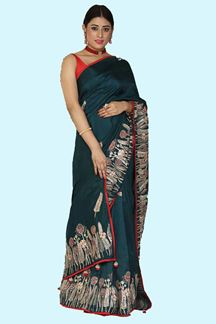 Picture of Flaunt Bottle Green Colored Partywear Dola Silk Saree