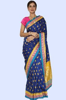 Picture of Royal Blue Colored & Mustard Festive Wear Paper Silk Saree