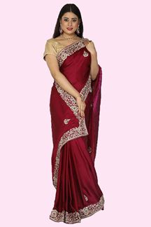 Picture of Exclusive Wine Colored Fancy Satin Silk Saree