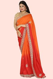 Picture of Engrossing Orange Shaded Colored Partywear Dola  Saree