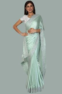 Picture of Mesmeric Olive Green Colored Party Wear Artificial Satin Saree