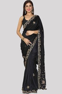 Picture of Groovy Black Colored Party Wear Dola Silk Saree