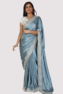 Picture of Excellent Grey Colored Party Wear Satin Silk Saree