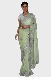 Picture of Engrossing Pista Green Colored Georgette Saree