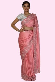 Picture of Flattering Peach Colored Partywear Satin-Silk Saree