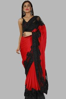 Picture of Stunning Red-Black Colored Partywear Crape  Saree