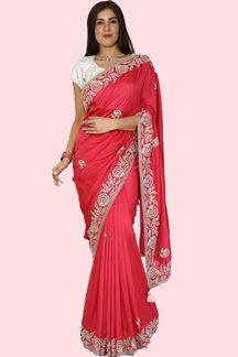 Picture of Ideal Pink Colored Dola Silk Saree