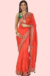 Picture of Stunning Orange Colored Partywear Dola Silk Saree