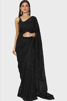 Picture of Unique Black Colored Party Designer Net Saree