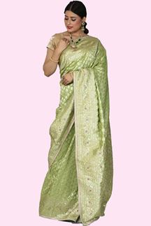 Picture of Ravishing Green Colored Banarasi Silk Saree