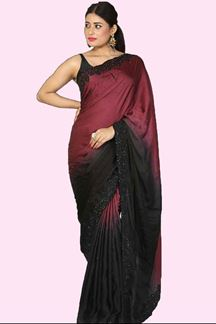 Picture of Radiant Maroon & Black Colored Party Wear Satin Silk Saree