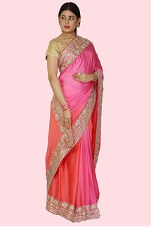 Picture of Radiant Shaded Orange & Pink Colored Satin Silk Saree