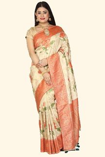 Picture of Mesmerising Beige Color Printed Silk Saree